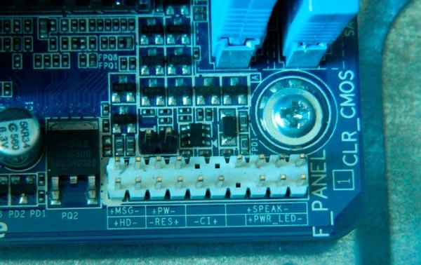 Podklyucheniye peredney paneli PC