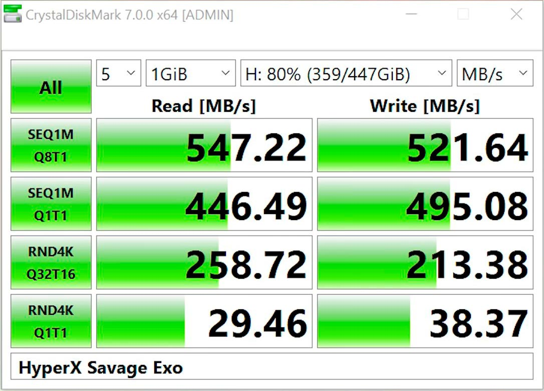 SSD HyperX Savage EXO test