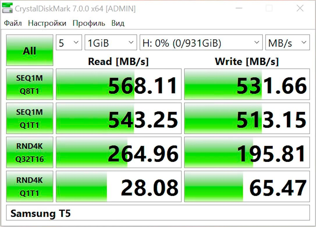SSD Samsung Portable T5 test